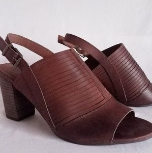 "Lucky Brand ""Jorelie"" Brown Leather Slingback Heel"